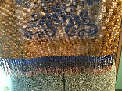 Gorgeous Antique Art Deco Micro Beaded Purse~evening Bag In Blue Gold Lavender