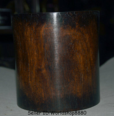 """5.6"""" Old Chinese Dynasty Huanghuali Wood Hand Carved Brush Pot Pencil Vase A2"""