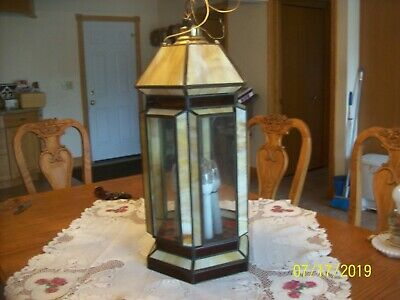 Slag Stain Glass Vtg Hanging Octagon Chandelier 6 Light Hanging Ceiling Fixture