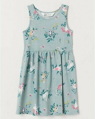 Bnwt H&M Girls Unicorn & Animals  Dress Age 4-5-6 Years Next Season
