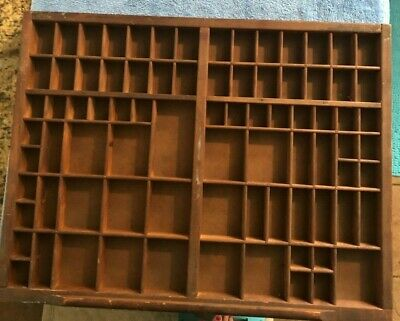 Wooden Type Drawer Printers Case Tray Shadow Box ready to hang on wall