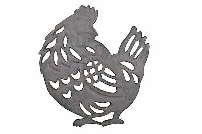 "Chicken Trivet Decorative Cast Iron Hot Pad 7.75"" Long"