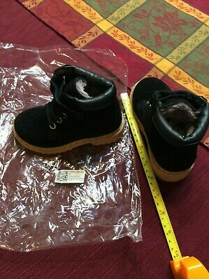 """Brand New Black Fur Lined Toddler shoes 6"""" Unisex Suede / Leather Material"""