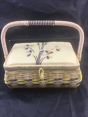 Vintage Style Wicker Sewing Basket Embroided Lid.