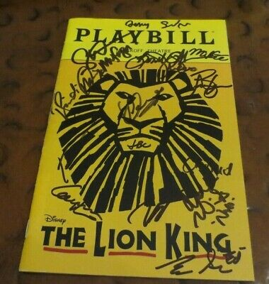 Disney's The Lion King Broadway Play Playbill current cast signed autographed