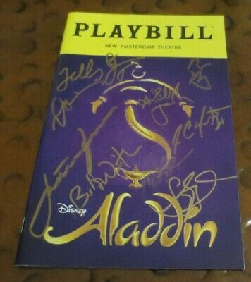 Disney's Aladdin Broadway Play Playbill current cast signed autographed