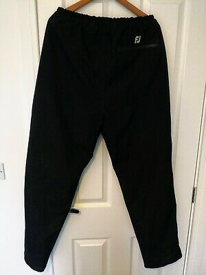 Nearly New FJ Footjoy Dryjoys Waterproof Golf Trousers Black Large L 31'' Inseam