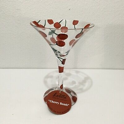 Lolita Hand Painted Martini Glasses CHERRY BOMB Recipe on bottom