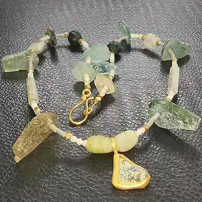 Lovely Necklace with jade stones Ancient Roman Glass Beads & Pendant