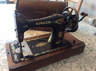 Antique Singer Sewing Machine With Original Wooden Case In Working Order