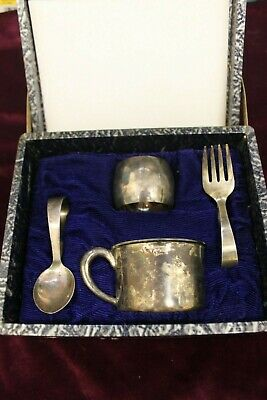 Antique Sterling Silver Baby set of cup, fork, spoon and napkin ring, in origina