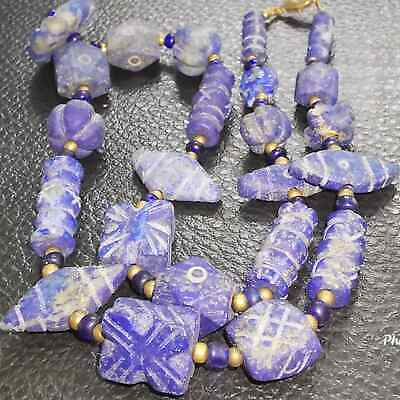 Roman Old Rare Lapis lazuli Carved Stone Beads Lovely Necklace    # 29