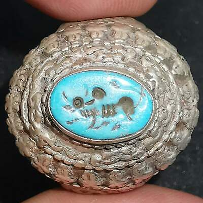 Roman Old Turquoise stone intaglio cow solid silver Old Ring  # 29