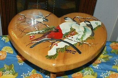 Hand Painted 3 Legged Wooden Stool With Birds Of Winter Design