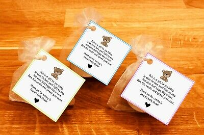 Baby shower scented candles favour tealights teddy bear Yellow Pink Blue 10 pack