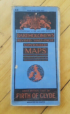Firth of Clyde Bartholomew's Half Inch Map on Cloth Scotland Sheet 44 1944