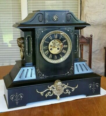 Excellent Very Large Black Belgian Marble Slate French Mantel Clock