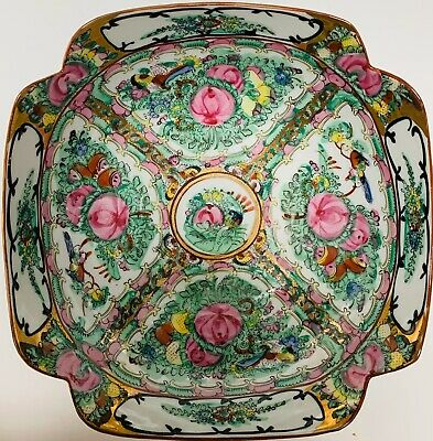 Japanese Porcelain Ware Hand Painted Gold Trim Rose Medallion Bowl