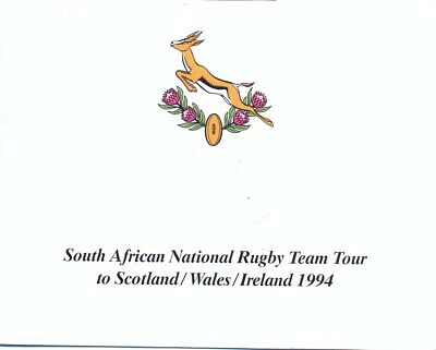 SOUTH AFRICA NATIONAL RUGBY UNION TOUR 1994 to SCOTLAND WALES IRELAND PIENAAR