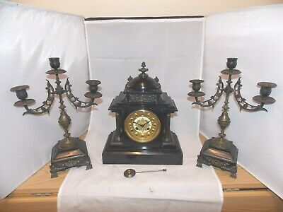 Lovely Vintage 8Day French Antique Chiming Mantel Garniture Clock Set By Marti.