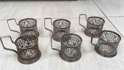 6 Vintage Soviet Russian (USSR) Silver Plated Filigree Glass / Cup Holders
