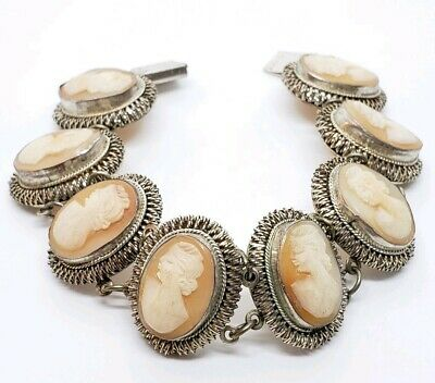 Antique Stamped Victorian 800 Fine Silver Hand Carved Cameo Shell Link Bracelet