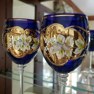 Lot 2 Bohemian Czech Crystal Wine Glasses Cobalt Blue Gold Enamel Floral Design