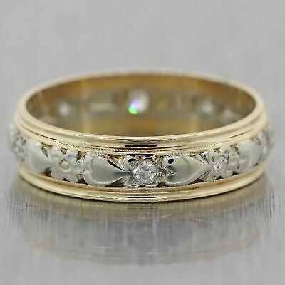 1930s Antique Art Deco 14k Yellow & White Gold 0.20ctw Diamond Wedding Band Ring