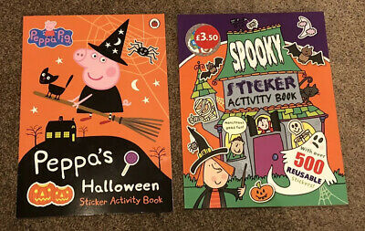 2 x Halloween Spooky Sticker Activity Books; Peppa Pig, Witches; Brand New