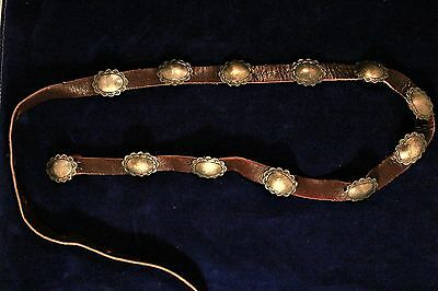Vintage Navajo  Hand-made Sterling or Coin Silver Concho Belt c. 1940