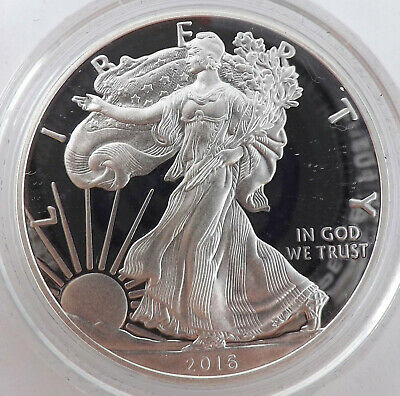 2016 W Proof American Silver Eagle ASE US One Dollar 1 oz S$1 Lettered Edge V49