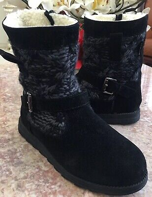 Muk Luks Women's Mid Calf Black Gray Boots Suede Sweater Knit Boots Size 8