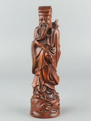 Chinese Exquisite Hand carved the ancients Carving Boxwood statue