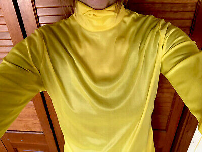 "Vtg Mid Century Womens Blouse ""Sir Gal"" Yellow Shirt Groovy Sheer Satiny MOD"