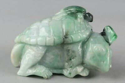 Chinese Exquisite Hand carved tortoise Carving jadeite jade statue