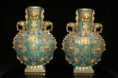 Chinese Exquisite Handmade beast copper Cloisonne bottle