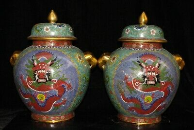 Chinese Exquisite Handmade Dragon copper Cloisonne pot A Pair