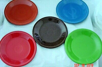 """5 Fiestaware Mixed Colors 7.25"""" Salad Plates Fiesta Retired And Active"""
