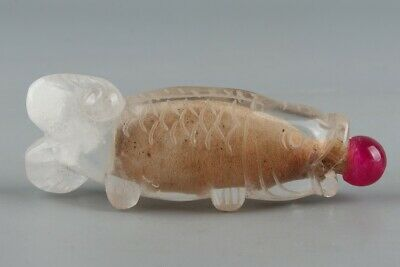 Chinese Exquisite Handmade fish crystal snuff bottle