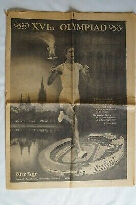 Olympic Games Collectable 1956 Melbourne Vintage The Age Souvenir Supplement