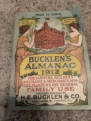 1912 BUCKLENS ALMANAC guide to health handbook of useful facts Dr kings bitters