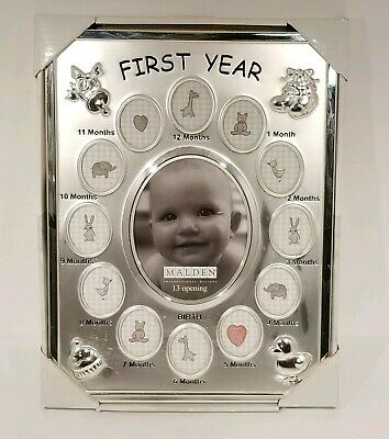 Malden Baby's First Year Birth Collage Picture Frame 1st Stainless Baby Shower