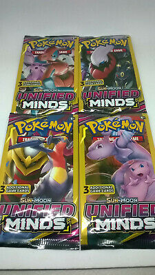 LOT OF 30 PACKS!!  POKEMON SUN & MOON UNIFIED MINDS 3 Card  Booster Packs SEALED