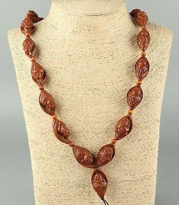 Chinese Exquisite Handmade Buddha Carving Olive nucleus necklace
