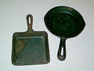 """Lot of 2 Small Cast Iron Skillets-6"""" Round & 5"""" Square Made in Taiwan"""