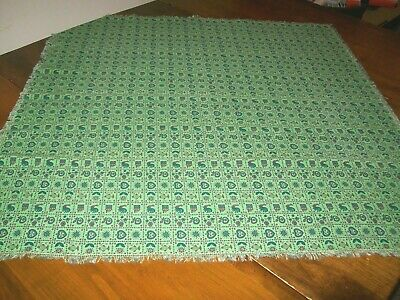 Vintage Green Printed Tablecloth-Roosters, Hearts, House, Flowers, Stars (B-2)