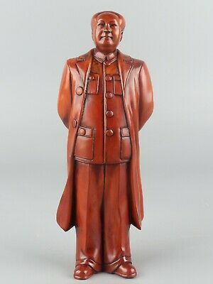 Chinese Exquisite Hand carved Mao Zedong Carving Boxwood statue