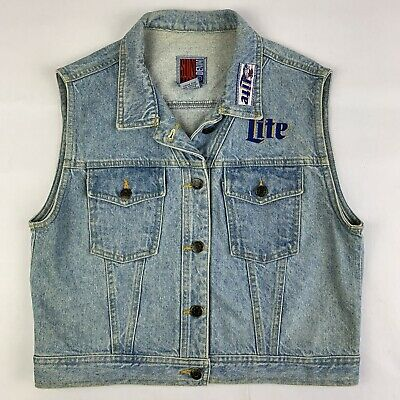 VTG Miller Lite Beer Promo Denim Jean Vest Womens Medium Sun Belt