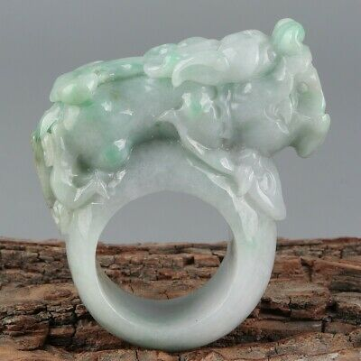 Chinese Exquisite Hand carved beast Carving jadeite jade Ring