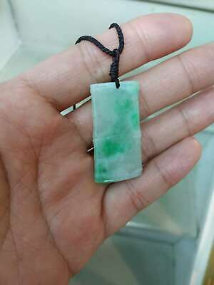 Grade A 100% Natural Genuine Burma Jadeite Jade Bamboo Pendant Necklace # 88